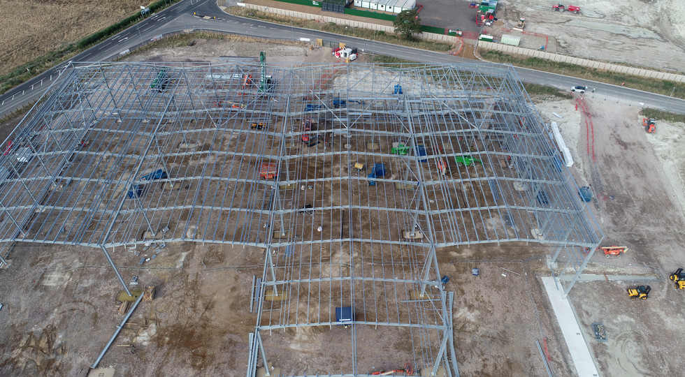 Aerial photo of warehouse construction site