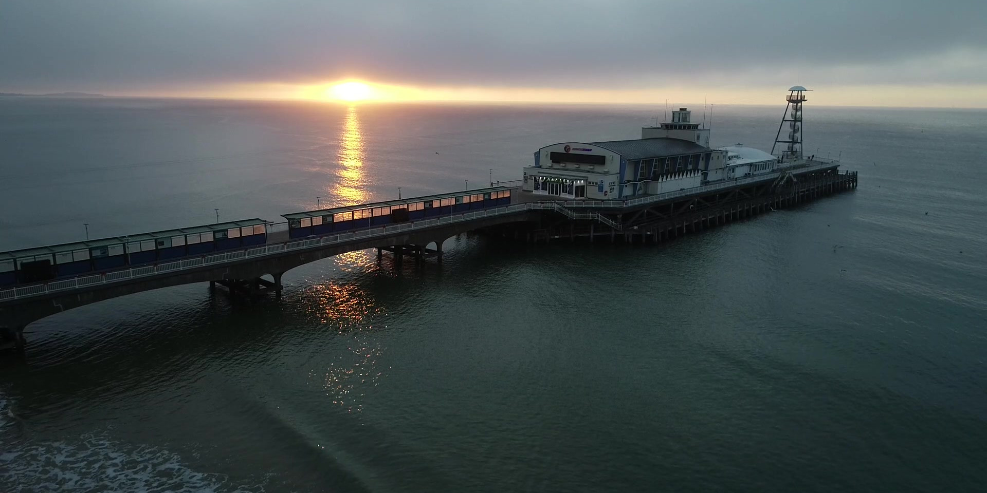 Bournemouth Pier at sunrise video