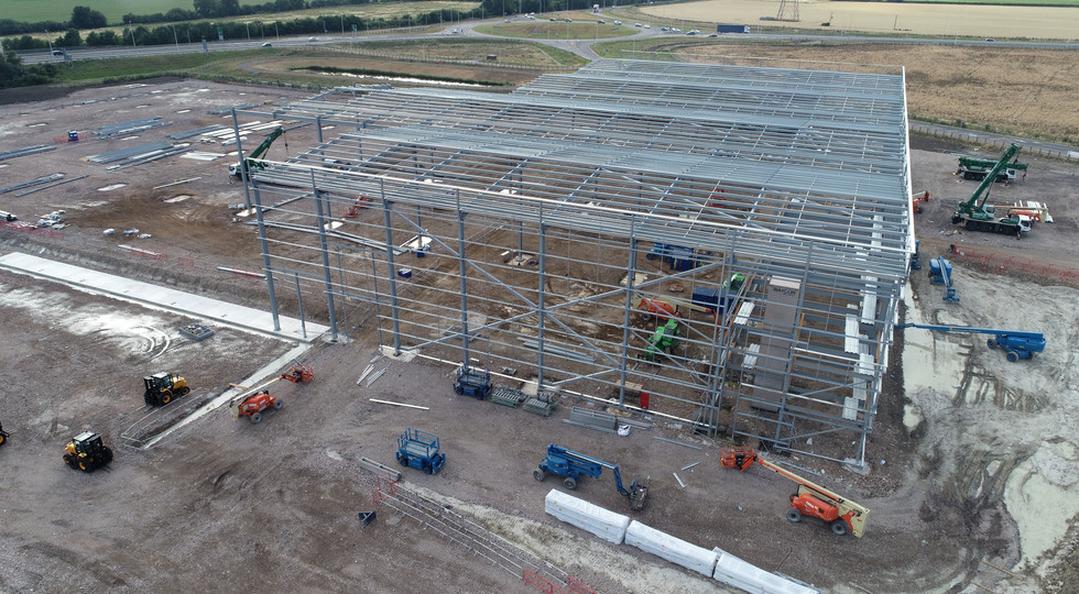 Aerial photo of Construction site for large warehouse building