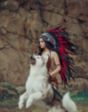 Native American Indian hunts. The wolf attacks in a jump. A luxurious roach with very long feathers.