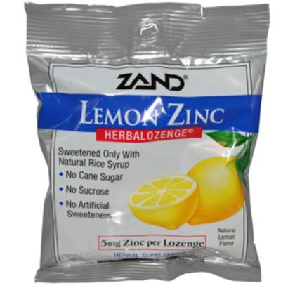 Zand, Lemon Zinc, Herbalozenge, Natural Lemon Flavor