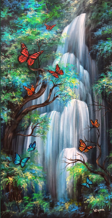 """Commissioned 48""""x24"""" Acrylic Painting ca"""