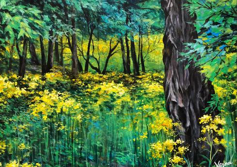 """Yellow Flowers"" - 20""x16""x0.5"""