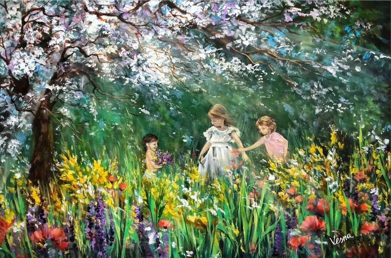"""""""Sisters"""" - 24""""x36""""x1"""" Acrylic on Canvas"""