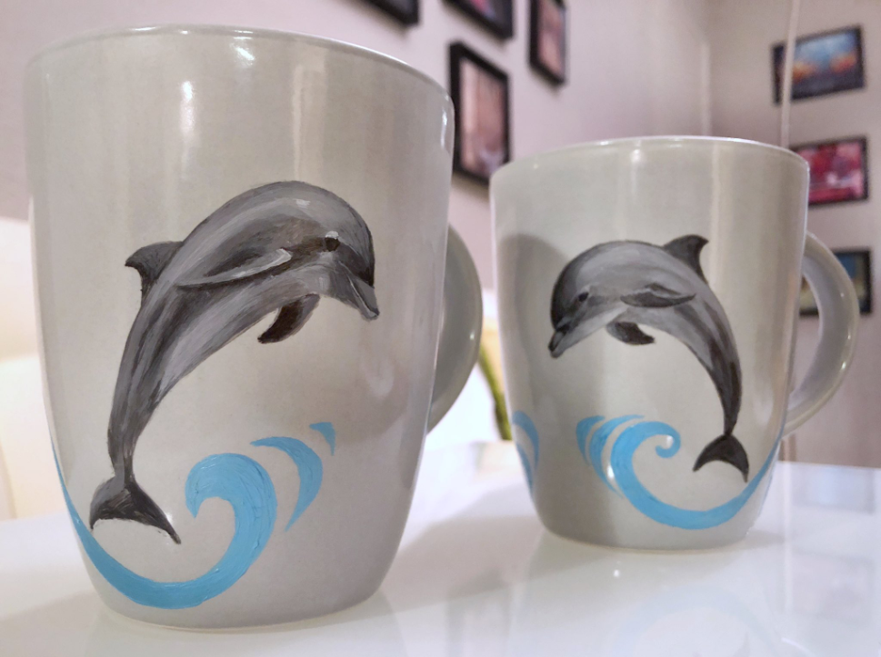Dolphin Mugs - Commissioned - Wave of Jo