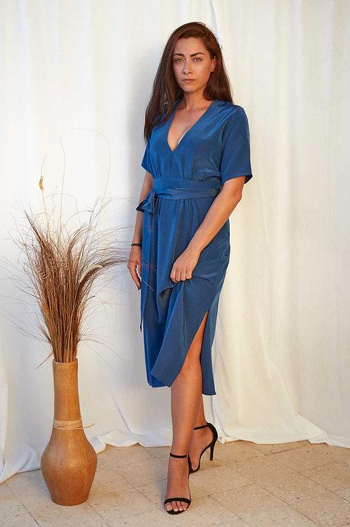 Kalla Dress in Deep Blue  (7-of-a-kind in sizes)