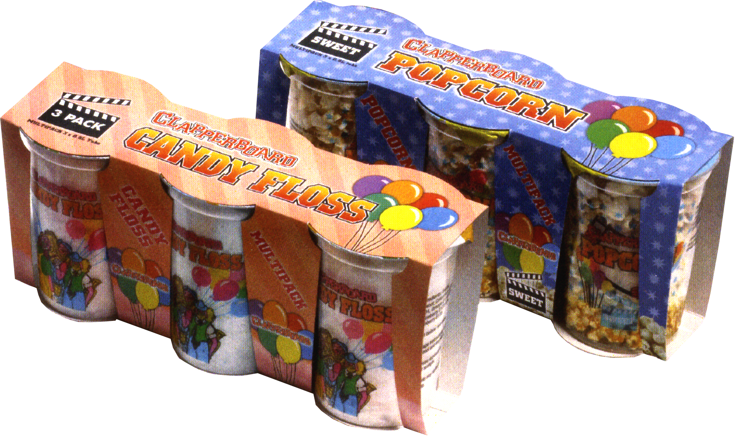 CON 128 Clapperboard 3 Pack Candy Floss & Popcorn
