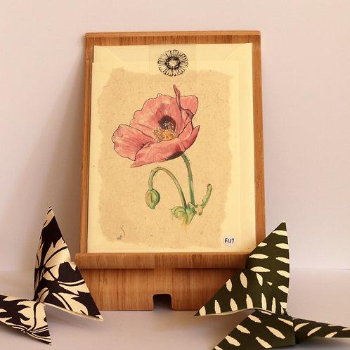 Pink Poppy Greetings Card