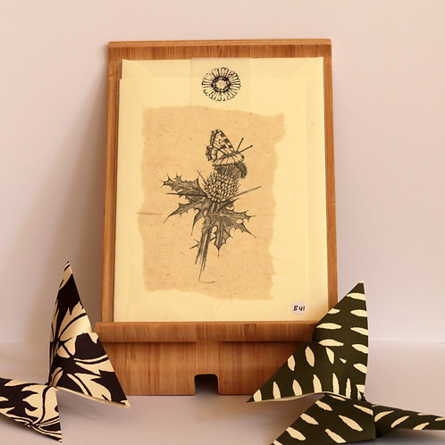 Black & White Thistle and Butterfly Greetings Card.