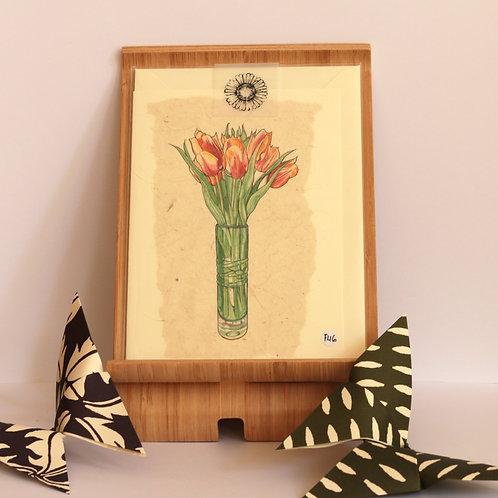 Tullip Vase Greetings Card