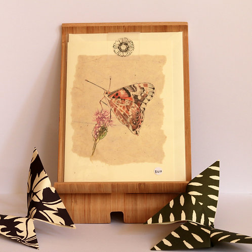 Large Painted Lady Butterfly & Thistle Greetings Card
