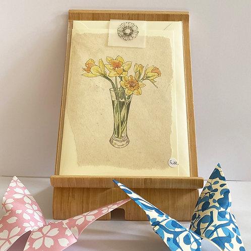 Daffodil Vase Greetings Card