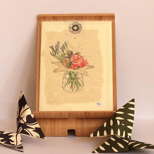 Star & Mixed Flower Vase Greetings Card
