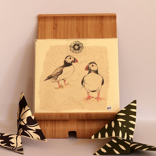 Double Puffin Greetings Card