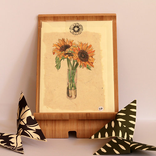 Sunflower Vase Greetings Card