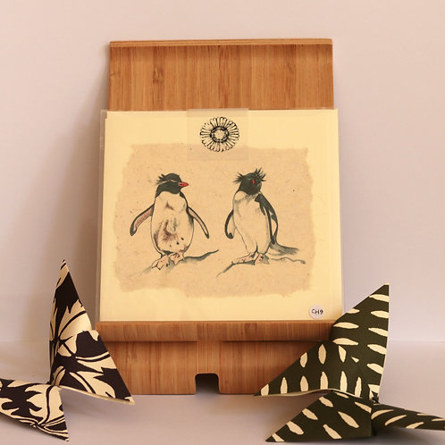 Rockhopper Penguin Pair Greetings Card