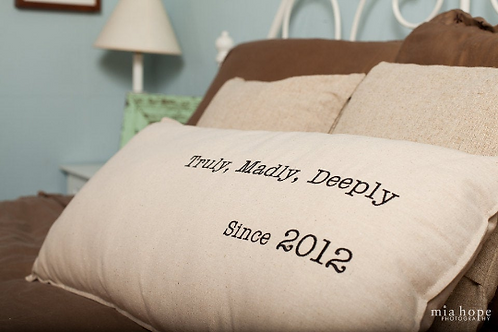 Truly, Madly, Deeply Custom Embroidered 14 x 28 Linen/Burlap Pillow