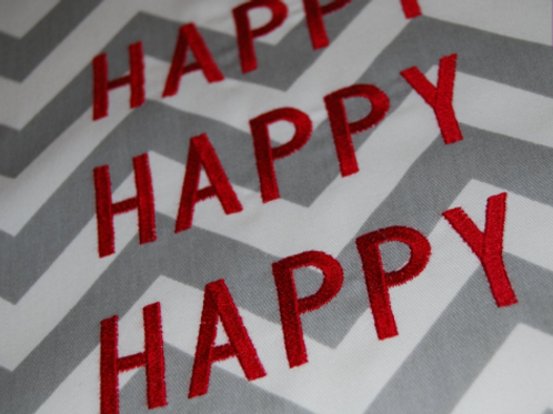 """HAPPY HAPPY HAPPY Chevron 16"""" Square Throw Pillow Cover"""