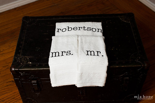 Mr. and Mrs. or His and Hers CustomTowel Set