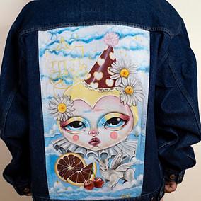 'Clown Baby' Hand Painted Denim Jacket