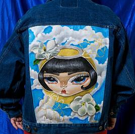 'Angel' Hand Painted Denim Jacket