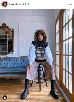 Meet the queen of pairing unlikely layers with a combat boot to create easy, chic looks. Nothing about Karen's outfits are predictable, and we love it that way.