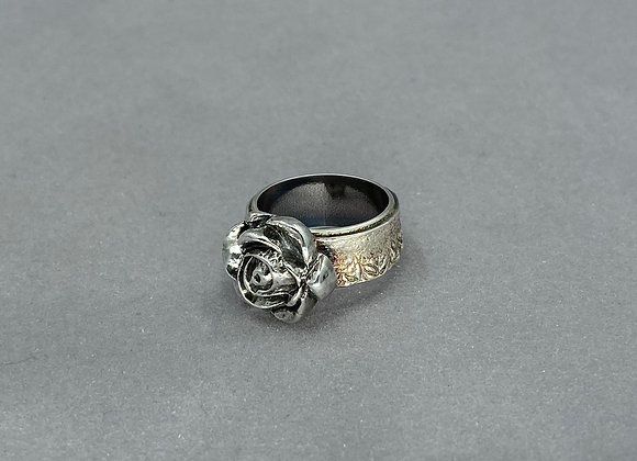 Sculpted Rose Fine Silver Ring