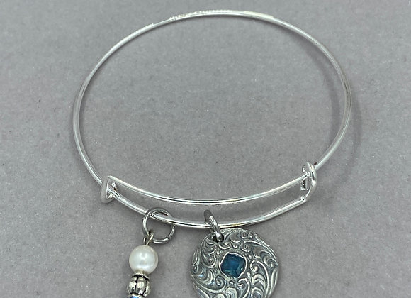 Blues in Textured Fine Silver Expandable Bracelet
