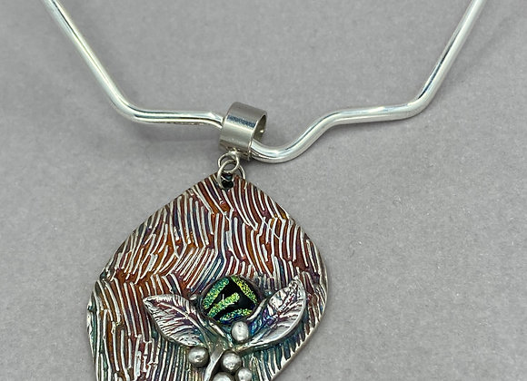 Abstract Leaf and Flower in Fine Silver