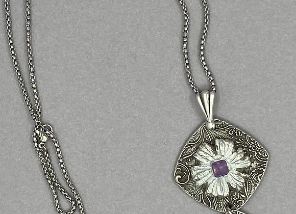 Pink Sapphire Floral Necklace