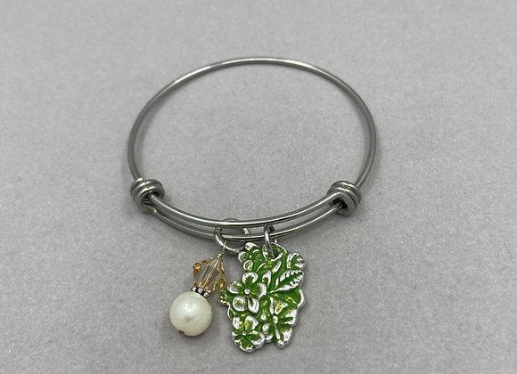 Flowers in Fine Silver on Expandable Bracelet