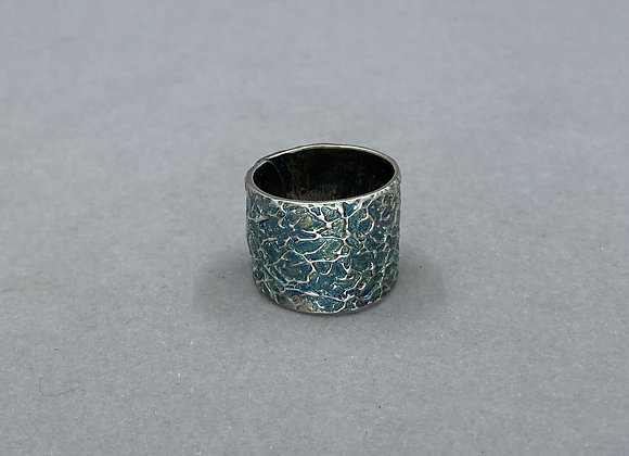 Turquoise Patina Fine Silver Ring