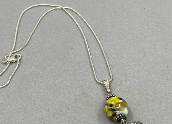 Glass Bead with Charm on Sterling Chain