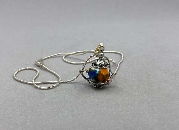 Glass Bead Teapot on Sterling Chain