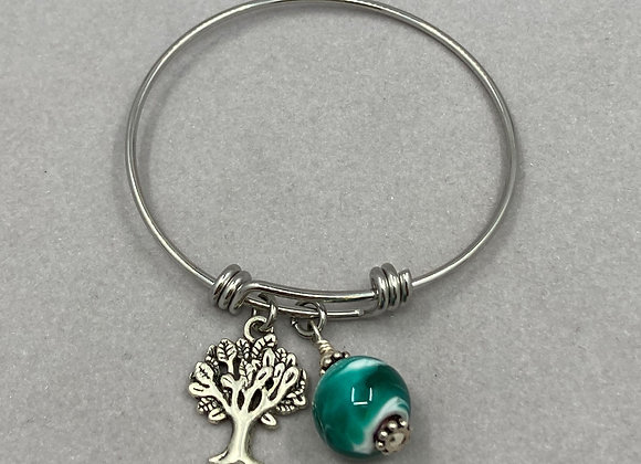 Glass Bead with Charm on Expandable Bracelet