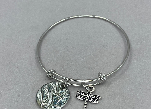 Waves of Grass in Fine Silver Expandable Bracelet