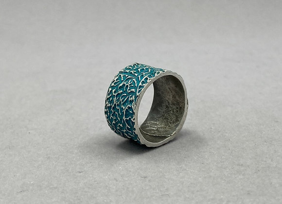Vines and Turquoise Sterling Silver Ring