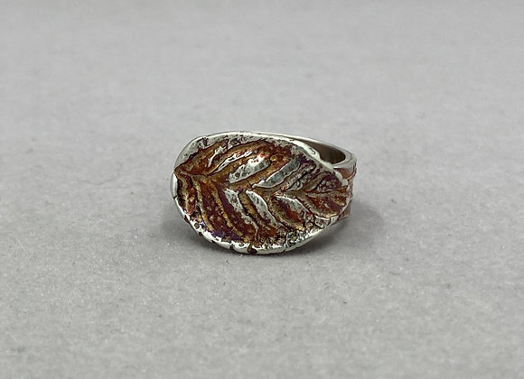 Golden Leaf Fine Silver Ring
