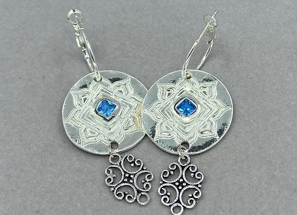 Mandala Blue Sapphire Earrings