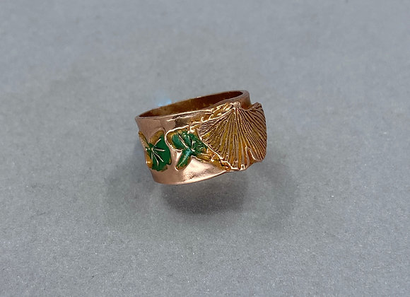Gingko Copper Ring with Texture