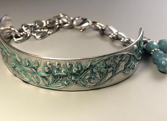 Fine Silver Vintage Floral Bracelet with Apatite Stones