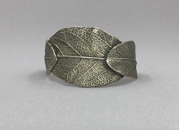 Triple Sage Leave Fine Silver Cuff Bracelet