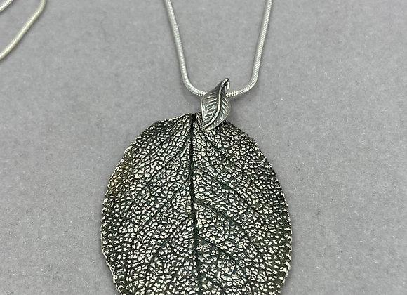 Antiqued Sage Leaf Pendant