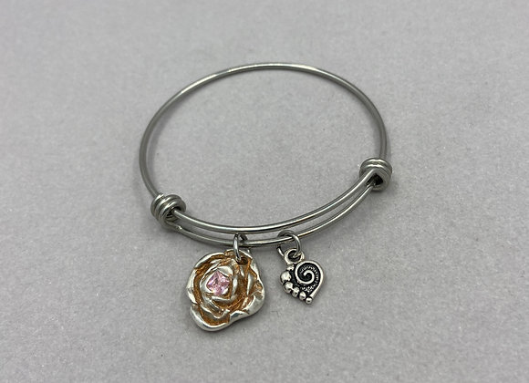 Rose and Sapphire on Expandable Bracelet