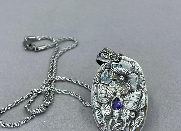Fine Silver Butterfly Garden with Amethyst