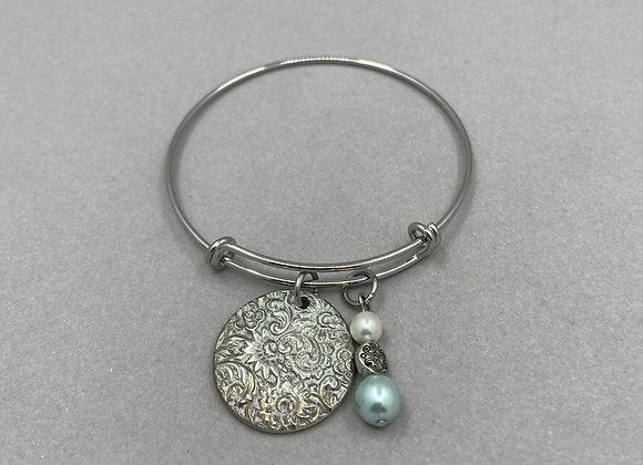 Floral Medallion in Fine Silver on Expandable Bracelet