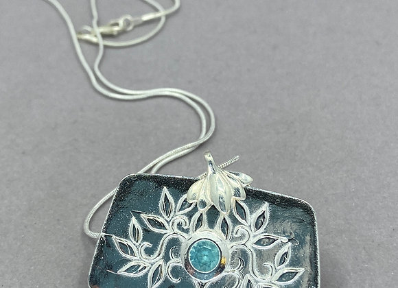 Tree of Life and Blue Topaz in Fine Silver