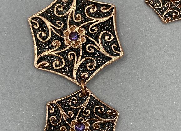 Royal Copper Swirls and Amethyst