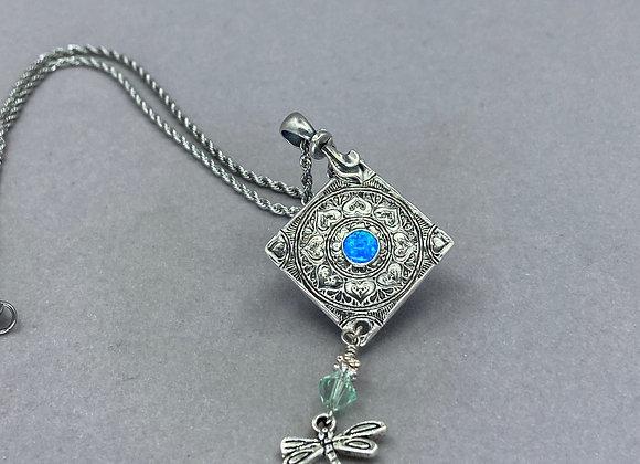 Peacock Opal in Fine Silver Mandala Necklace