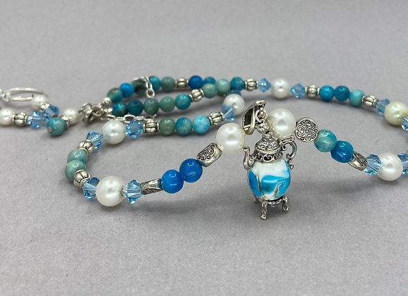Turquoise and Teapot Necklace Set